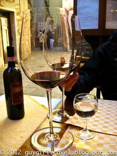Hotel Canaletto - Venice  Massive Wine Glasses  via GuyGirlTravel
