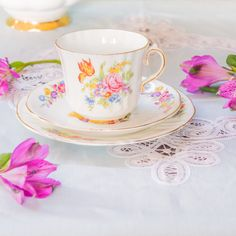 Lovely mismatched country floral teacup set