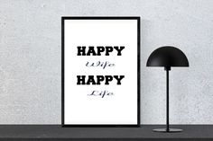 Happy Wife Happy Life - Fun Quote, Instant Download, Printable Wall Art by PinkPebblePrints on Etsy Printable Quotes, Printable Wall Art, Family Tree Print, Best Quotes, Funny Quotes, Personalised Prints, Online Print Shop, Happy Wife, Online Printing