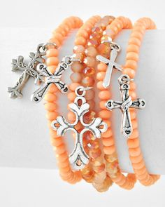 Peach Stretch Cross Bracelet