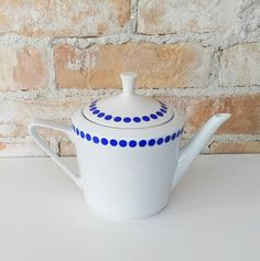 Mid-Century Modern Polka Dot Teapot in Blue on White by NoVeto