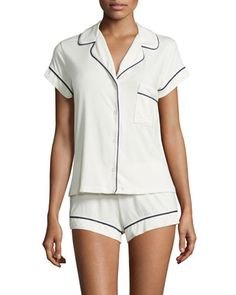 Gisele+Boxer-Short+Pajama+Set,+Ivory+by+Eberjey+at+Neiman+Marcus.