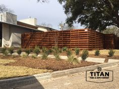 Pre-sealed cedar on metal fence. Installed by Titan fence & supply Company. Wrought Iron Fences, Metal Fence, Building A Gate, Fence Styles, Automatic Gate, Chain Link Fence, Horizontal Fence, Texas Homes, Building Materials
