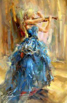Dancing With A Violin 2 - painting by Anna Razumovskaya #Art  #Painting