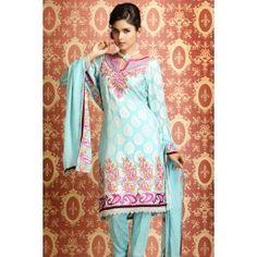 Off White & BlueGeorgette Salwar Suit