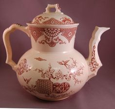 Antique Oriental Design Brown Transferware Tall Teapot Aesthetic Movement | eBay