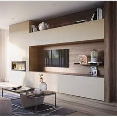 Inspiration for our built in cabinets in the living room. Built In Cabinets, Tv Cabinets, Tv Cabinet Design, Interior Styling, Interior Design, Gas Fireplace, Home Theater, Joinery, Interior Architecture
