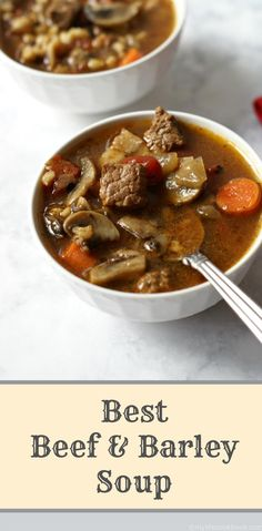 This is the best beef and barley soup according to my husband at least. Chunks of beef surrounded by barley, mushrooms, carrots, savory thyme tomato broth. Cooker Recipes, Paleo Recipes, Meat Recipes, Recipies, Beef Barley Soup, Chowder Soup, Ground Beef Recipes Easy, Tomato Sauce Recipe, Homemade Soup