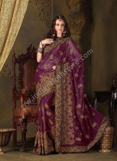 $173.75 Plum Fabric Shimmer Saree 14743