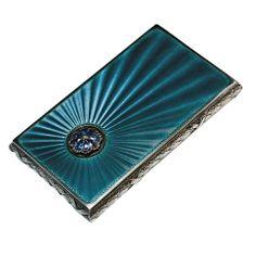 Antique Russian Guilloche Enamel Card Case