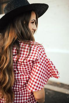 Gingham Top with Flutter Sleeves | 4 Colors!