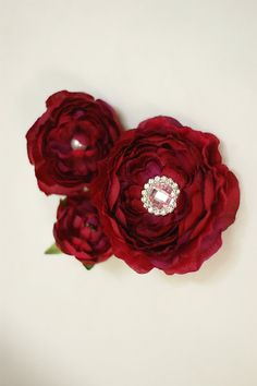 red silk peony flower 2 way hair clip / brooches and cocktail ring set - set of 3