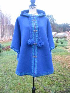 blue poncho knit poncho boho poncho wraps shawls woman pod poncho stylish knit coat knit cape,wool knit sweater by WoolMagicShop on Etsy
