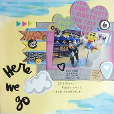"""Layout """"Here we go"""" using HKMC March 2014 kit featuring Monte Paper Mill """"Take2"""" and Amy Tangerine """"Plus One"""""""