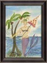 The Captain's Sweetheart Mermaid Art Seaside Home Decor, Framed Art, Framed Prints, House Of Turquoise, Beach Artwork, Mermaid Art, Large Art, Back Home, Wall Art Decor