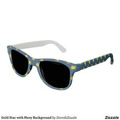 Gold Star with Navy Background Sunglasses This design is available on many products! Hit the 'available on' tab near the product description to see them all! Thanks for looking!     @zazzle #art #star #pattern #shop #chic #modern #style #circle #round #fun #neat #cool #buy #sale #shopping #men #women #sweet #awesome #look #accent #fashion #clothes #apparel #earrings #headband #sunglasses #ties #belts #fingernail #black #blue #purple #orange #grey #gold