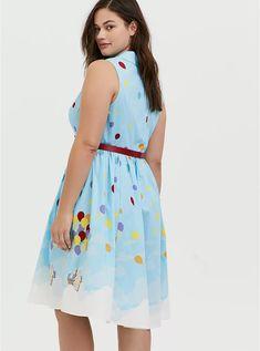 Her Universe Disney Pixar Retro Up Blue Belted Swing Dress Poplin Dress, Poplin Fabric, Disney Dresses, Vintage Tees, Swing Dress, Black Leggings, Disney Pixar, Torrid, Plus Size Dresses
