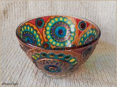 RichanaDragon ||| BYZANTIUM. Glass salad bowl (candle holder) decorated in the Byzantine style. Hand painted stained glass. Colorful rainbow.