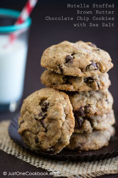 Brown Butter Chocolate Chip Cookies with Nutella | JustOneCookbook.com