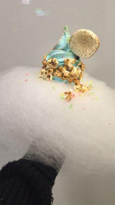 Sea Salt and Hazelnut Soft Cream with all toppings (pop rocks, popcorn, marshmallow and cotton candy) cone, Aqua S #foodporn #icecream #dessert #sweet #delicious #softcream #marshmallow #cottoncandy #popcorn