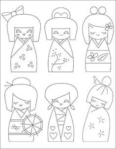 kokeshi japanese doll embroidery patterns