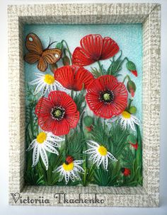 Quilling greeting card with daisies and poppies