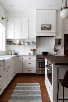 Emily Henderson European Kitchens, Home Kitchens, Backsplash Kitchen White Cabinets, Backsplash Ideas, Cost Of Kitchen Cabinets, Clad Home, Classic White Kitchen, Budget Kitchen Remodel, Interior Shutters