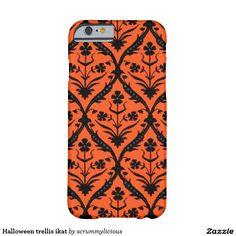 Halloween trellis ikat barely there iPhone 6 case #phone #halloween #zazzle #floral #trellis #orange #black
