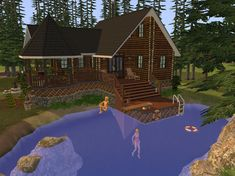 This cozy log cabin is out in the woods and has a little swimmable rock-quarry lake off the back porch.