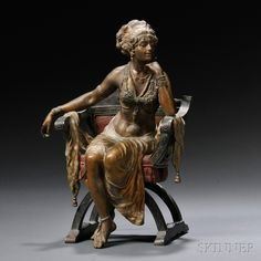 Austrian School, Late Century, Cold-painted Bronze Figure of a Seated Exotic Dancer Abstract Sculpture, Bronze Sculpture, Sculpture Art, Art Nouveau, The Past, Girl Face, Cold, Dancer, Antiques