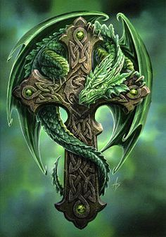 Woodland Guardian by Anne Stokes; celtic cross; green dragon