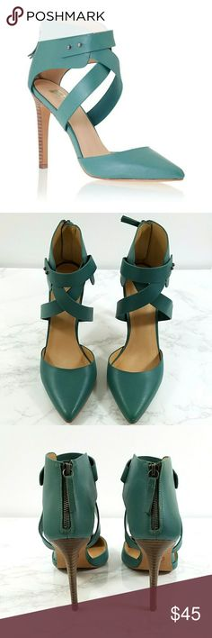 Joe's Jeans Ankle Wrap Pete Pointy Toe Pump Joe's Jeans Ankle Wrap Pete Pointy Toe Pump. Color is called Sage Teal. Minor knick to left toe. Minor wear to bottom. No box.   No trade or P.P. Reasonable offers considered Bundle Discount Joe's Jeans Shoes Heels