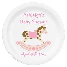 Pink Rocking Horse Baby Shower 9 Inch Paper Plate