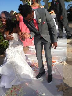 Jumping the broom of love in beautiful Mexico.#jumpingthebroom #bridesnbrooms