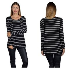 "B/W striped top (S M L) Black/ white striped top  S: L 29"" B 34"" • M: L 30"" B 36"" • L: 30"" B 36"" Materials- 95% rayon/ 5% spandex. This top is very soft and has great stretch to it. Very breathable. Zipper detailing around the neckline.  NWOT. Brand new without tags. Availability- S•M•L • 2•2•2 PLEASE do not purchase this listing. Price is firm unless bundled. No trades Tops Tees - Long Sleeve"