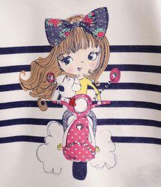 Blusa Infantil com Estampa de Boneca - Tam 1 a 4 anos - Lojas Renner Cute Girl Illustration, Bike Illustration, Human Sketch, Teen Trends, Frocks For Girls, Girl Sketch, Design Girl, Inspiration For Kids, Kids Prints