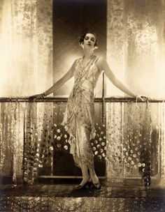 Chantal with the golden dress, Paris, 1929.  Photo by Baron Adolphe de Meyer
