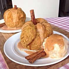 Vegan Apple Dumplings with Pumpkin Caramel - a super speedy recipe (microwave dumplings!) to have this sweet snack ready in minutes. Dairy-free with a gluten-free option.