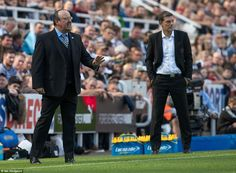 Newcastle manager Rafa Benitez issues instructions while Hammers counterpart Slaven Bilic looks on from the touchline