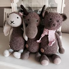 Konijn Kiki, rendier Rudolf en beer Charlie door Chris!! #haken #haakpatroon #gehaakt #amigurumi #knuffel #gehaakt #crochet #häkeln #cutedutch
