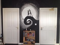 Nightmare Before Christmas Jack Skellington Sally silhouette wall mural Emo Bedroom, Dream Bedroom, Bedroom Wall, Bedroom Decor, Wall Decor, Bedrooms, Bedroom Ideas, Maquillage Halloween Clown, Nightmare Before Christmas Decorations