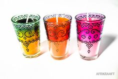 Set Of 3: Glass Gypsy Candles. Soft, Yet Playful Colors.