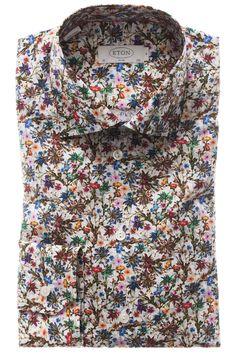 Floral Print Poplin Contemporary Fit Shirt