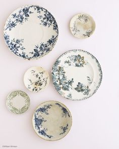 Blue and white floral transferware plate wall.  Simple.  Beautiful.  Classic.