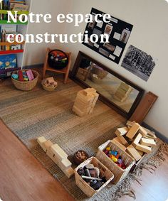 Where are you, COQUELIPOP ?: Construction space: the question of accessories - Pre-school Bethany Ford Montessori Room, Montessori Activities, Toddler Activities, Preschool Rooms, Preschool Classroom, High Scope, Home Childcare, Block Center, Classroom Layout
