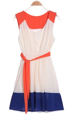 Red Apricot Blue Sleeveless Belt Pleated Dress - Sheinside.com