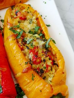 Sweet Long Peppers Stuffed with Cauliflower Rice - Proud Italian Cook Veggie Recipes, Cooking Recipes, Vegetarian Recipes, Good Food, Yummy Food, Delicious Recipes, Vegetable Dishes, Vegetable Ideas, Cubanelle Pepper