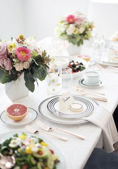 For an elegant brunch or shower, stick to a sophisticated black and white color scheme. Add a pop of gold polka dots and decorate the table with fresh flowers and fruit for a welcoming feel. Follow these entertaining tips to plan the perfect fall brunch or bridal shower.