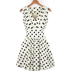 Emma Waston Chiffon Fashion V Neck Pleated Sleeveless Polka Dot Dresses