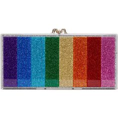 Charlotte Olympia Silver Rainbow Glitter Perspex Penelope Clutch ( 1,245) ❤  liked on Polyvore featuring d51656fd4a
